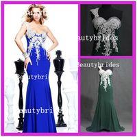 Cheap 2014 New Arrivals Tarik Ediz 92198 One Shoulder Actual Photos Mermaid Chiffon Beading Evening Gowns Prom Dresses Hot Sale 0125B