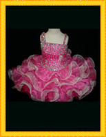 Cheap 2014 Graceful Ball Gowns White And Fuchsia Girl's Pageant Dresses Layers Crystals Sequin Beads For little girl girls Flower Girl Dress gown