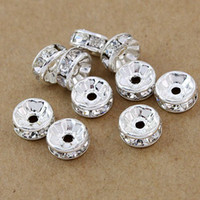 Rhinestones b elements - Fashion HOT DIY mm Silver plated White B Rhinestone Crystal spacer Beads Jewelry Findings
