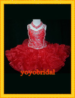 Cheap 2014 Red Little Layers Organza Girl's Pageant Dresses Ball Gowns Sequins beaded For little girl girls Flower Girl Dress gown