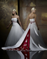 New Arrival Empire Strapless Applique Satin Custom- made Wedd...
