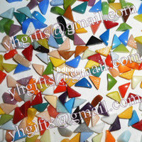 Wholesale 500ps Irregular mosaic tile beads x15x6mm Mixed color Handmade accessories Freeshipping