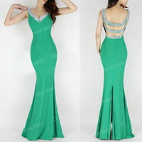 Wholesale Brand New Grace Karin Mermaid Long Prom Dresses V neck Side Cut outs Beaded Evening Gowns Slit Back CL6061