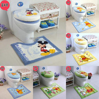 Cheap Cartoon bathroom toilet three piece set toilet seats potty pad toilet set cover Free shipping
