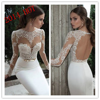 Cheap 2014 Sheer Vintage Wedding Dresses Lace Appliqued Jewel Neck Long Sleeves Backless Sheath Court Train White Sheer Berta Bridal Gowns 14125