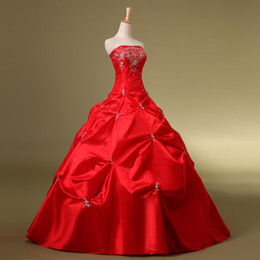 Wholesale 2014 Red Cheap In Stock Quinceanera Dresses Sexy Ball Gown Lace Up Applique Sweep Train Under Strapless Ruffled Girls Prom Dress Gowns