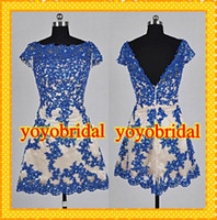 Wholesale 2014 Real Image Fashion Royal Blue Lace with Nude Satin Homecoming Dresses High Neck Backless Sequin Beaded Short Cocktail Prom Party Dress