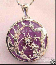 Real Fine 925 silver dragon phoenix jade pendant necklace