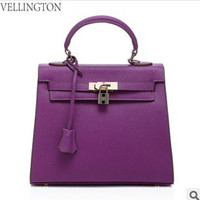Totes Women Plain New women's real cow genuine leather designer handbag 2014 euro spring hot sell purple lady's leisure shoulder bag designer business handbag