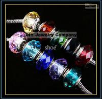 500pcs unique cuivre blanc Facettes verre perles charmes charm perle coeur mélanger au hasard 10 couleurs