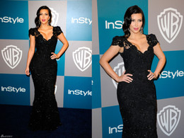 Wholesale Hot Sale Kim Kardashian Golden Globe Awards Celebrity Red Carpet Dresses V Neck Short Sleeves Lace Applique Beaded Black Long Evening Gowns