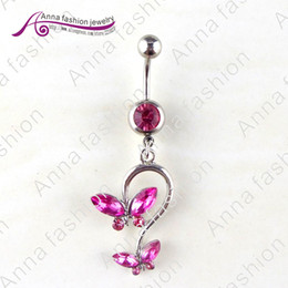 Wholesale Belly Button Rings Navel amp Bell Button Rings Double Butterfly Horse Eye Rhinestone Products Dq06