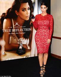Wholesale Kim Kardashian Black Cocktail Dress - 2015 Kim Kardashian in Red Carpet Celebrity Dresses Lace High Neck Long Sleeve Plus Size Cocktail Dress Short Prom Evening Dress Gown Custom