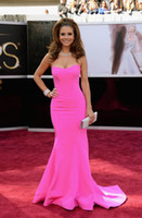 Wholesale 2014 Sexy Maria Menounos in Golden Globe Awards Red Carpet Dresses Mermaid Satin Fuschia Prom Dresses Evening Gowns Backless Pageant Dresses