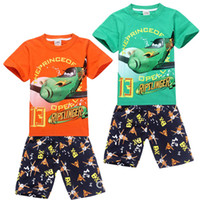 Cheap Direct Line Free Shipping 2014 Baby Boys 2-8yrs Dusty Planes Pajamas for Kids Cartoon Summer Sleepwear Cotton Homewear Pyjamas Suits Set PJS