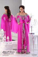 Wholesale 2014 dubai abaya fuchsia long evening dresses with lace applique beads and long sleeve slit evening gowns vestidos de fiesta prom dresses