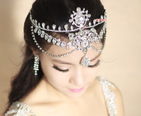 Wholesale Crystal Wedding Headband Wedding Hair Accessories Bridal Shining Crown Luxury Rhinestone Frontlet Eyebrows Korean Style Tire