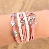 Charm Bracelets Women's Fashion 3piece lotMin order 10usd ( mix items ) 2014 new Design Metal peach heart love Infinity bracelet Leather Multilayer bracelet fashion SHOP