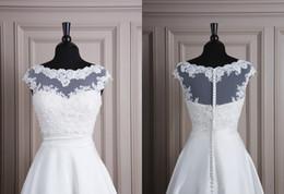 Wholesale 2014 Elegant Sheer Wedding Jacket Lace Applique Bateau Neck Cap Sleeves Button Back White Bridal Jacket Bridal Accessories Custom Made