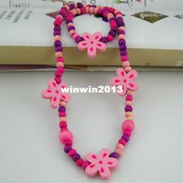 Wholesale 0 Children jewelry best baby products children kid jewelry set handmade wood flower necklaces CS09