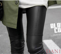 Wholesale 1pcs Sexy Ladies Faux Leather Black Leggings Fashion Pants Black Trousers Tights NEW DAN1
