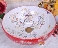 Wholesale 2013 jingdezhen ceramic red art basin wash basin counter basin