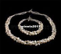 al por mayor perlas naturales sistemas de la boda-ENVÍO LIBRE al por mayor Semilla collar porción pulsera de agua dulce blanca de la perla natural con el vidrio Sistema de la joyería de los granos de la boda de la novia