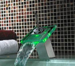 Wholesale RGB LED LIGHT GLASS WATERFALL FAUCET KITCHEN BASIN BATHROOM SINK MIX TAP FAUCET cm g