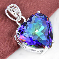 Wholesale 2015 Limited New Ruby Jewelry Colares Gemstone Jewelry Pendant Sterling Silver Gemstone Mystic Topaz Heart Pendant P0905