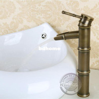Wholesale Bathroom Faucet Bamboo shape sink basin Mixer Tap Antique Brass single handle water faucet Deck Mounted bathroom tap GY