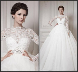 Hot New2014 Luxury Jewel Royal Lace Ruffles Ball Gown Beaded Court Train Wedding Dress 2014 Long Sleeves