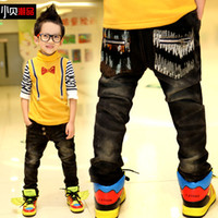 Cheap Retail 1 pcs Children's autumn winter 2013 children denim plus velvet trousers baby pants boy jeans New High free shipping