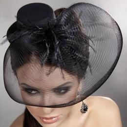 Wholesale Muilt color Wedding Dresses Accessories Bride Hat Tulle Feather Flower Romantic Bridal Hats Black Fisinator Illusion Party Hat