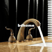 Wholesale 8 quot Antique Brass bathroom sink Faucet Handles wide spread