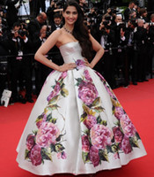 Cheap 2014 Sexy Strapless Sonam Kapoor Cannes Film Festival Myriam fares Backless Print Flowers Evening Gowns Celebrity Dresses