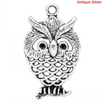 Wholesale Charm Pendants Owl Animal Halloween Ornaments Antique Silver Can Hold ss6 Rhinestone Hollow x15mm K03393