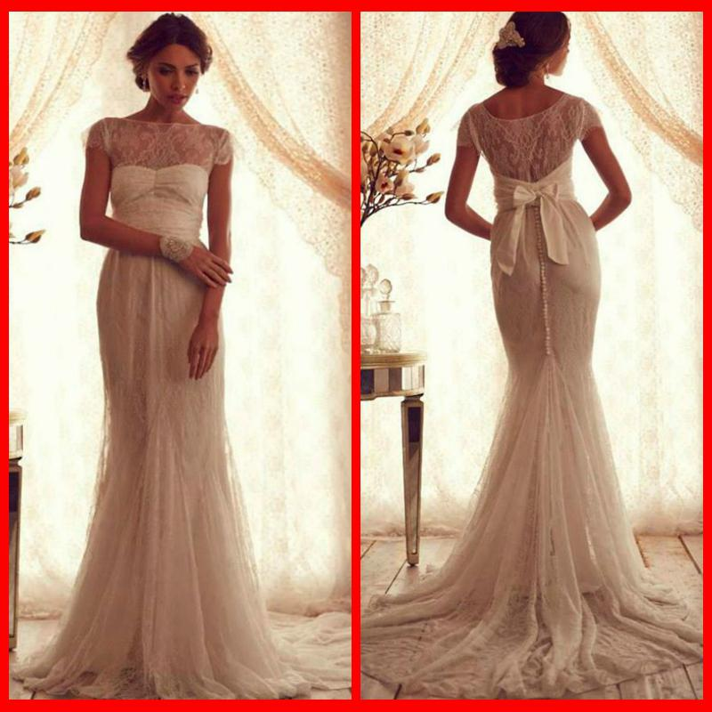 2014 Glamorous Sheer Neck Anna Campbell Wedding Dresses