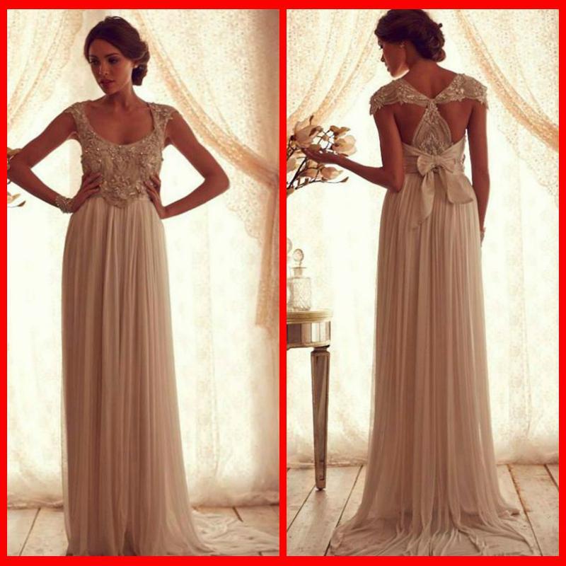 Anna Campbell Wedding Dress: 2014 Anna Campbell Scoop Wedding Dresses Sweep Train
