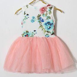 Hot Sale summer girls big flowers vest tutu dress Girls Children flower Princess Lace Skirt Children dresses for 2-6T DHL Fedex Ship Melee