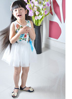 Wholesale Short Pleated Plaid Skirt - New summer girls flower dresses Country style flower vest tutu dress Girls Children flower Princess Lace Skirt Children dresses 9Colors