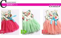 Wholesale summer new children s clothing flowers ribbon lace roses Skirt Floral girls dress Cute Sweet pink baby kids tutu dresses color Size melee