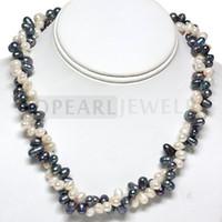 Teboer Bijoux Eau Douce Blanc Noir 6-7mm Perles Double Collier FN241