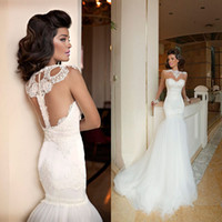 Cheap High Neck Tulle Applique Sweep-train Mermaid Sheer Wedding Dresses 2014 Long Sleeve Vintage Church Berta Bridal Gowns Sleeveless