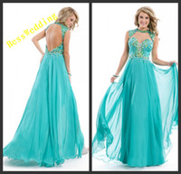Reference Images Halter Chiffon Charming And Nice Halter Sweetheart Neckline Long Dresses Features An Open Back And High Quality Chiffon Full Length Skirt 2014 Prom Dresses