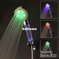 Cheap LED lighting temperature control Rain hand shower Romatnic Crystal handle LED shower faucet chuveiro ducha douche banheiro 9050