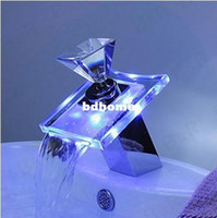 other other Ceramic Plate Spool Diamond crystal faucet handle LED bathroom basin sink faucet mixer taps glass waterfall S-007B