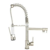 Wholesale nickel brushed deck mount single handle sink faucet pull out and down kitchen sink faucet pull out kitchen vessel faucet L