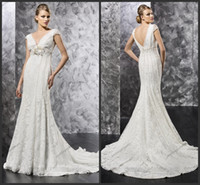 Wholesale Empire High Waist Double V Neck Mermaid Court Train Plus Size Full Figure Wedding Dress
