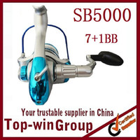 Cheap Fishing Spinning Reel SB5000 7BB+1RB Long Casting Reel Fishing High Speed 5.5:1 Aluminum Spool TOPWIN