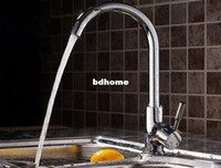 Wholesale Kitchen Sink Faucet With Plumbing Hose Solid Brass Two Spouts Kitchen Mixer Tap